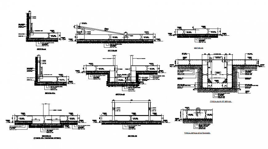 Under ground tank section plan detail dwg file