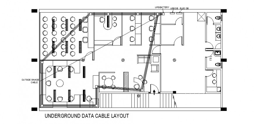 Underground data cable layout, furniture layout and auto-cad drawing details of office dwg file