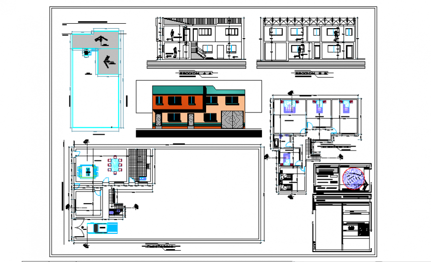 Unfamiliar architectural housing project design drawing