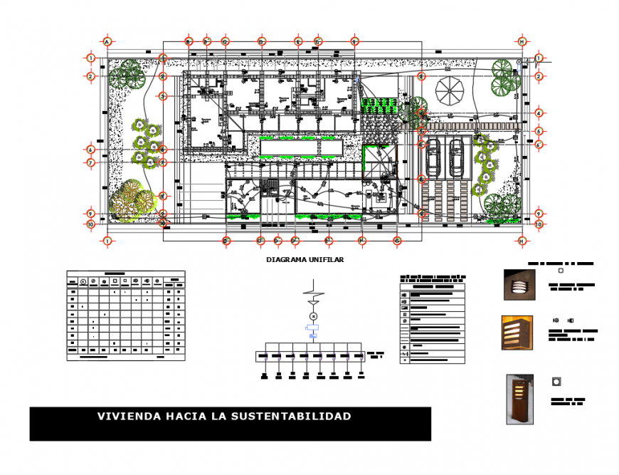 Uni-familiar adobe house electrical layout plan and architecture details dwg file