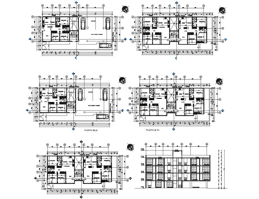 Uni-familiar apartment building floor plan distribution cad drawing details dwg file