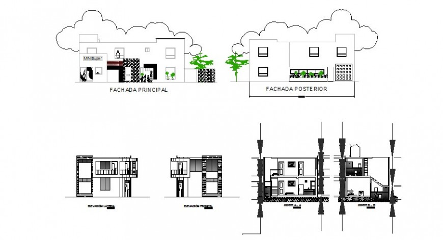 Uni-familiar duplex house all sided elevation and section cad drawing details dwg file