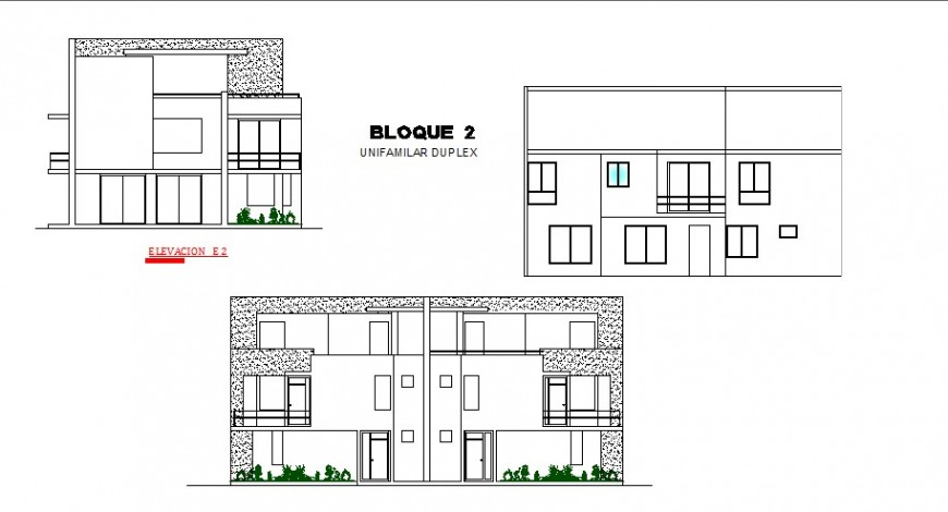 Uni-familiar duplex house all sided elevation cad drawing details dwg file