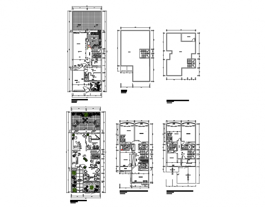 Uni-familiar house building first floor, second floor, terrace and framing plan cad drawing details dwg file
