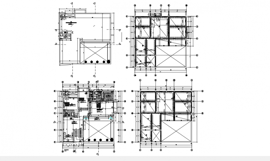 Uni-familiar house layout plan and floor structure plan drawing details dwg file