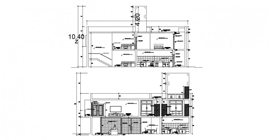Uni-familiar residential house front and back section cad drawing details dwg file