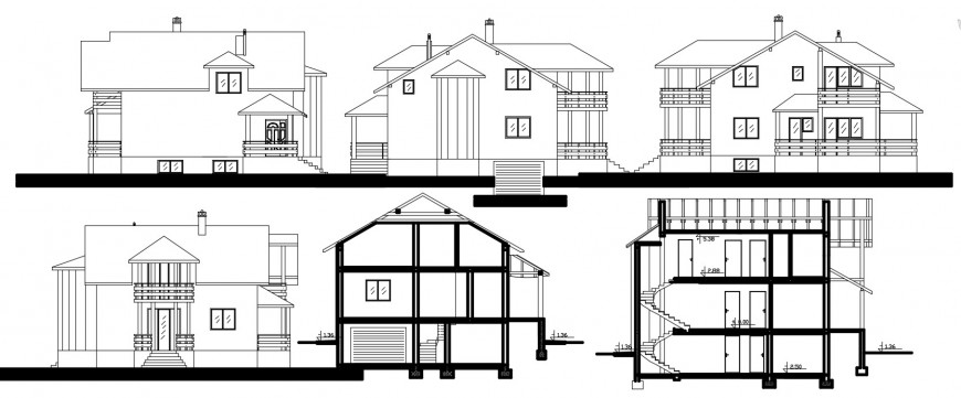 Uni-familiar two level house elevations and sections drawing details dwg file