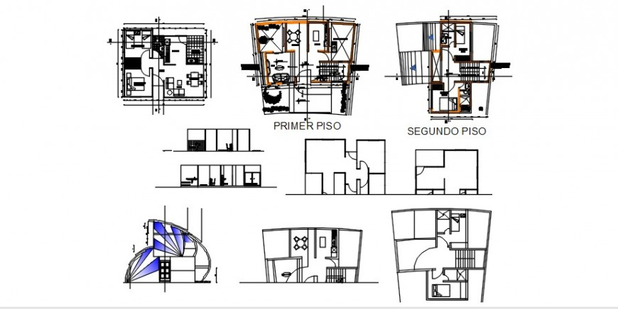 Uni-family house elevation, section and floor plan cad drawing details dwg file