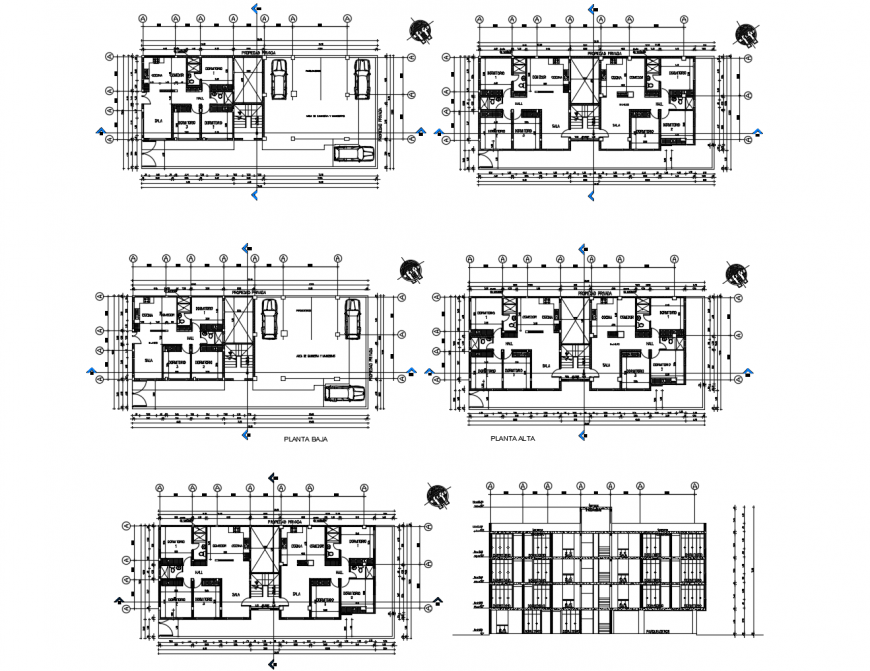 Uni-family residential apartment building elevation and section drawing details dwg file