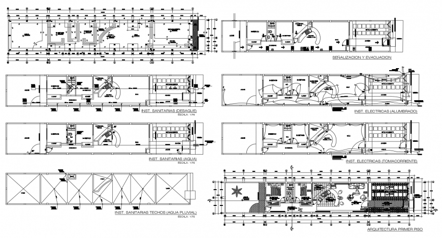 Uni familiar residential building floor plan and electric installation details dwg file