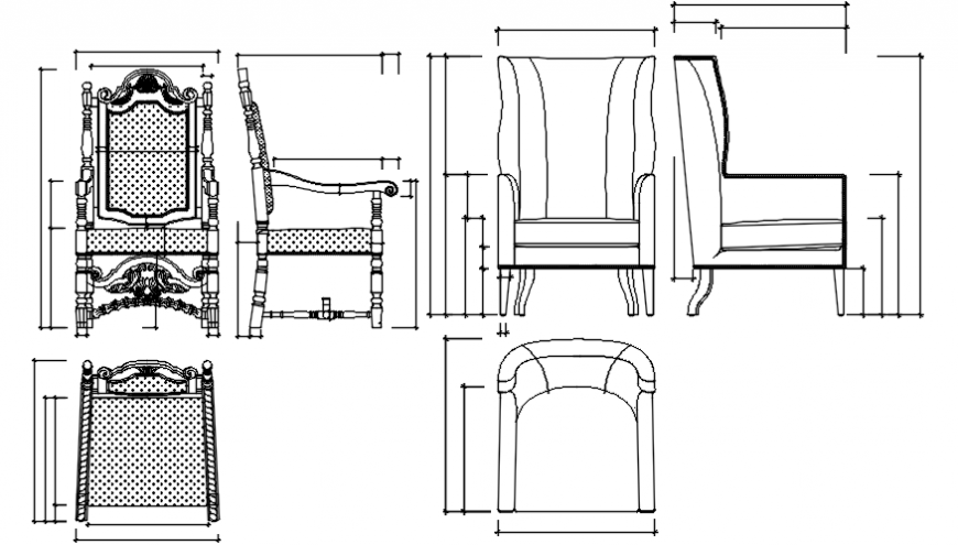 Unique classic chair elevation block cad drawing details dwg file