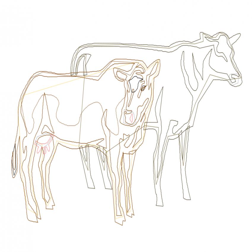 Unique double cow cad block design dwg file