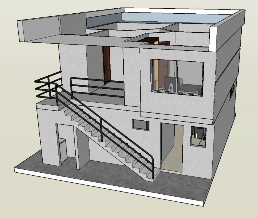 Unique residential house 3d model cad drawing details skp file