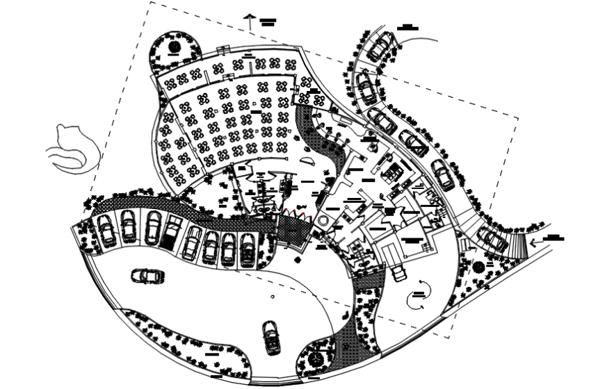 Unique restaurant distribution plan and landscaping structure details dwg file