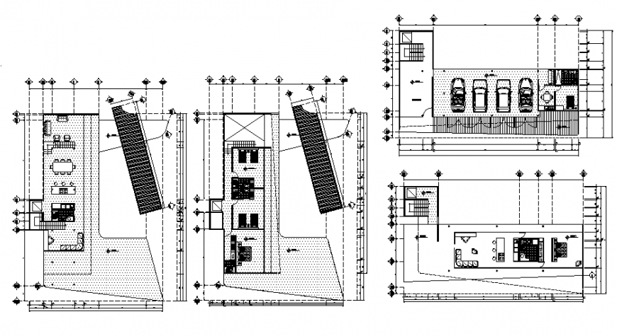 Unit apartment housing building ground, first, second etc floor plan cad drawing details dwg file