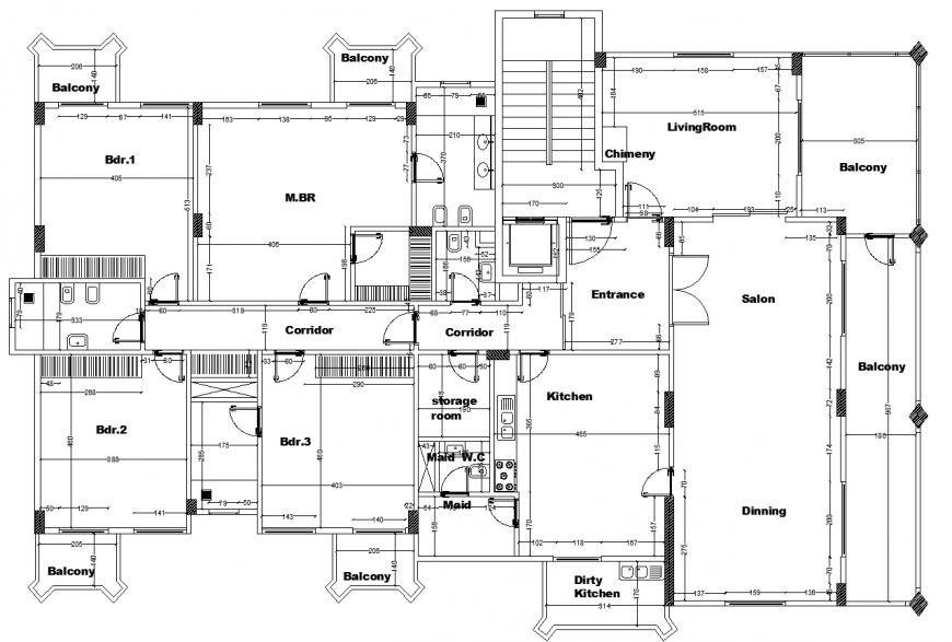 Unit block plan of apartment in dwg file.