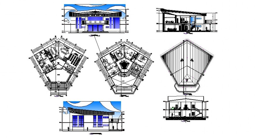 University administrative department elevation, section and floor plan cad drawing details dwg file
