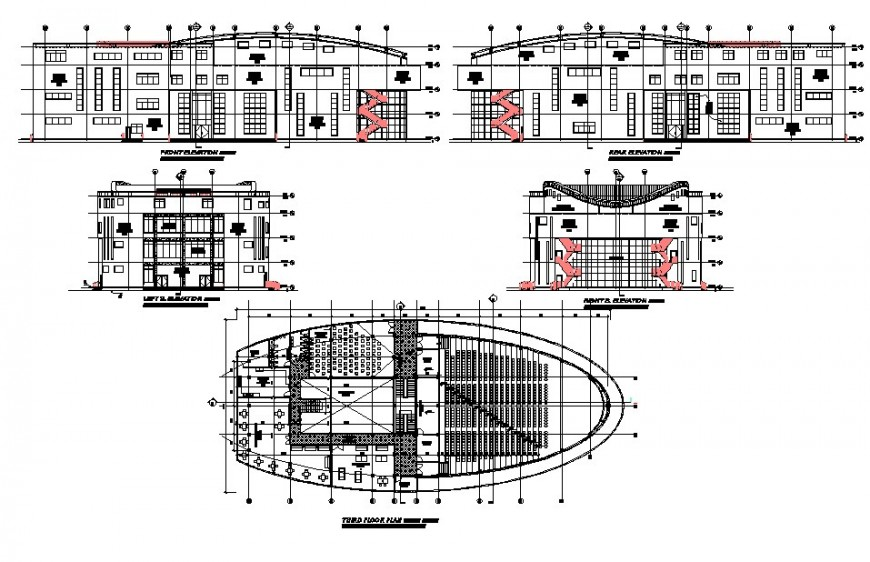 University building detail drawing in dwg AutoCAD file.