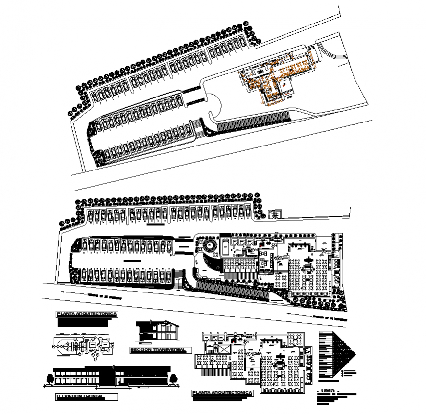 University building detail plan, section and elevation 2d view layout file
