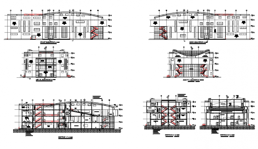 University building elevation 2d view layout file