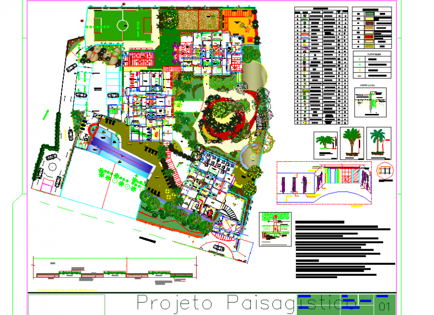 University building site layout in dwg file.