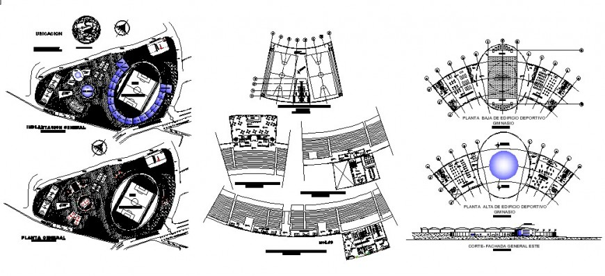 University building with sports center floor plan distribution cad drawing details dwg file