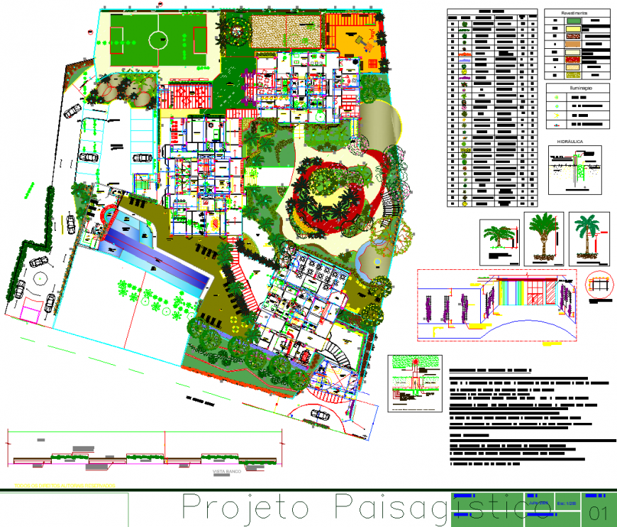 University campus site plan drawing in dwg file.