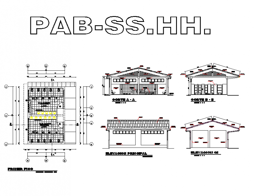 University detail building plan view elevation dwg file