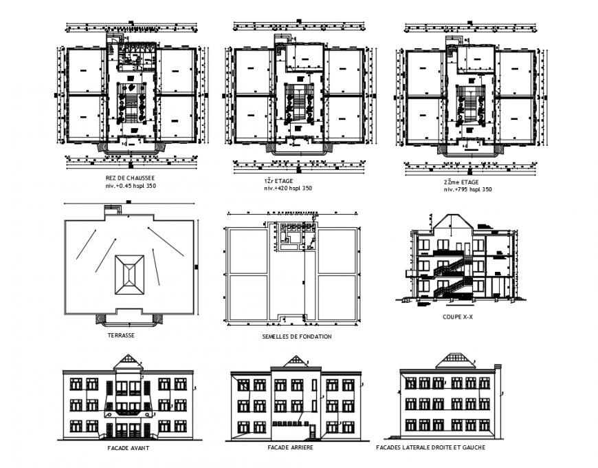 University elevations, sections and floor plan details with terrace cad drawing details dwg file