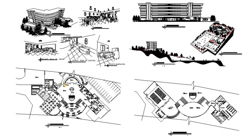 University hostel floor plan elevation, section and isometric view in auto cad