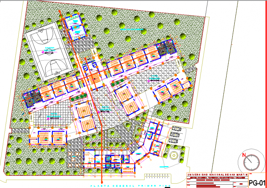 University site plan drawing in dwg AutoCAD file.