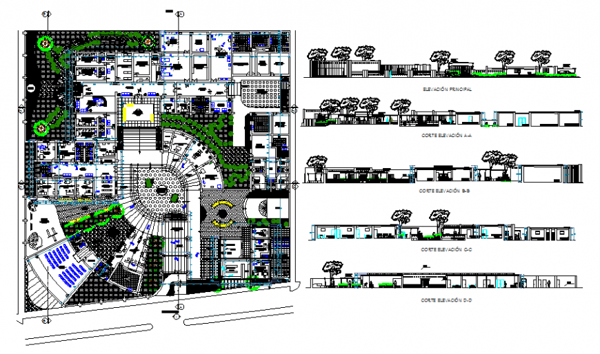 University site plan with section in dwg file.