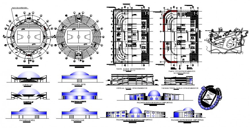 University with sports center elevation, section and floor plan cad drawing details dwg file