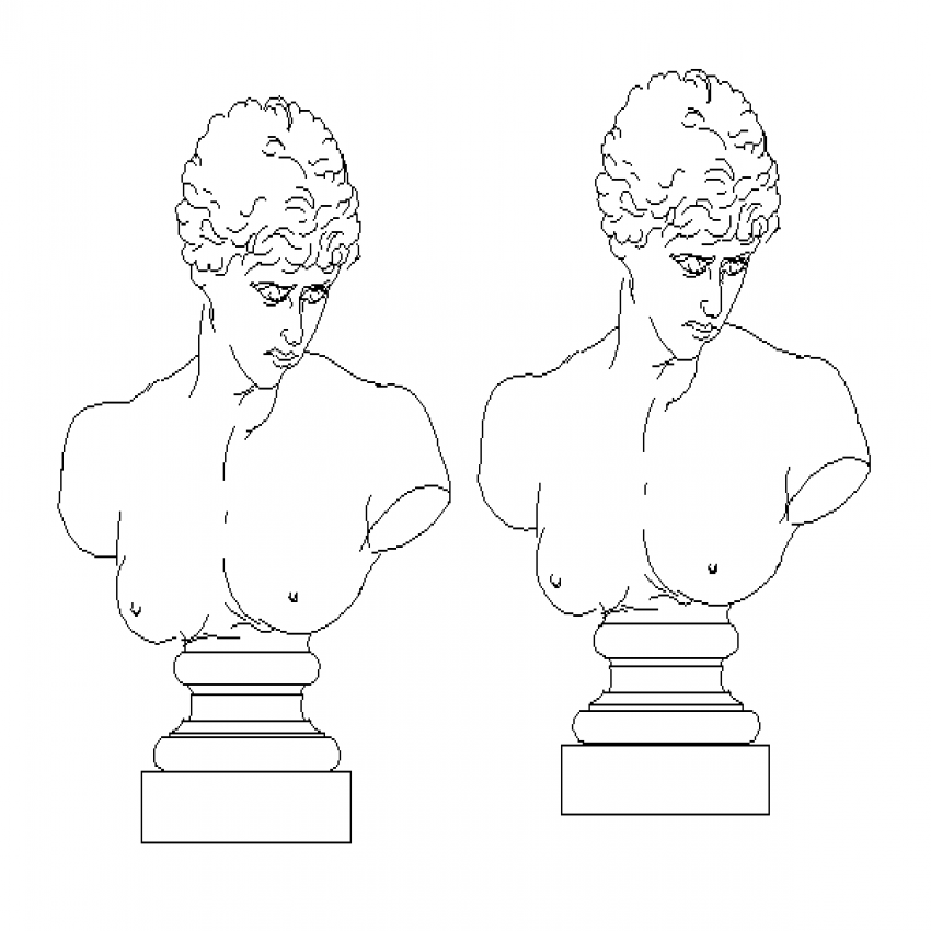 Upper body two male sculpture cad blocks dwg file