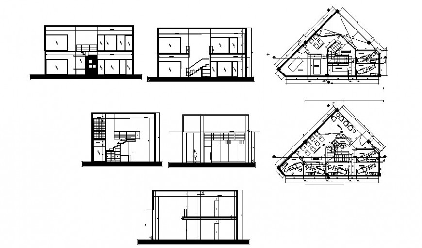 Urban clinic elevation, section and floor distribution plan cad drawing details dwg file