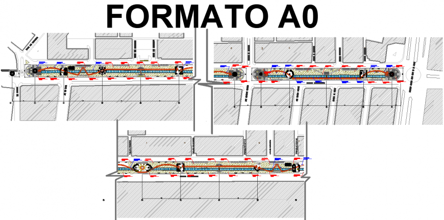 Urban development drawing, space of road divider in dwg file.