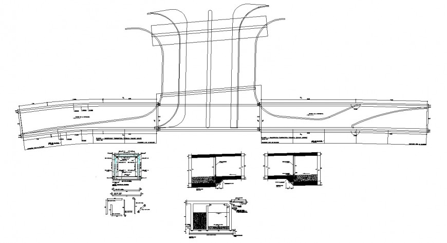 urban drawing of road node pedestrian bridge in dwg file.