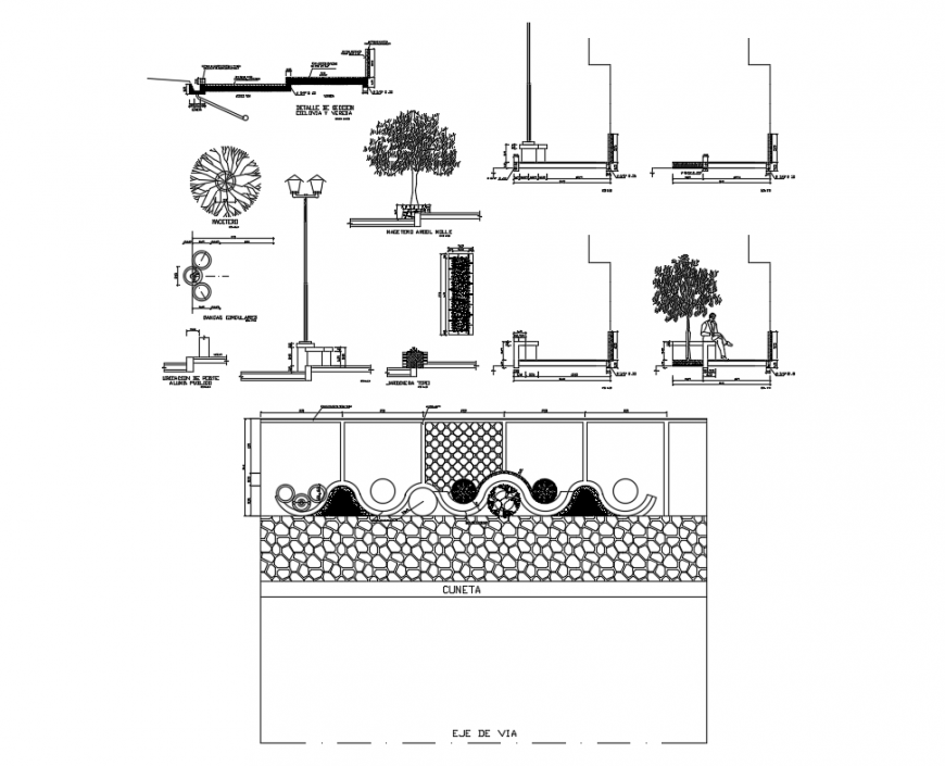 Urban garden equipment and landscaping details dwg file