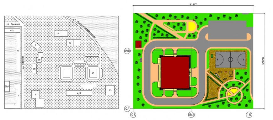 Urban garden landscaping structure drawing details dwg file