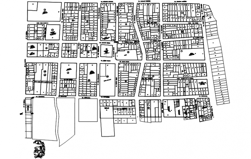 Urban habitation plan and landscaping drawing details dwg file