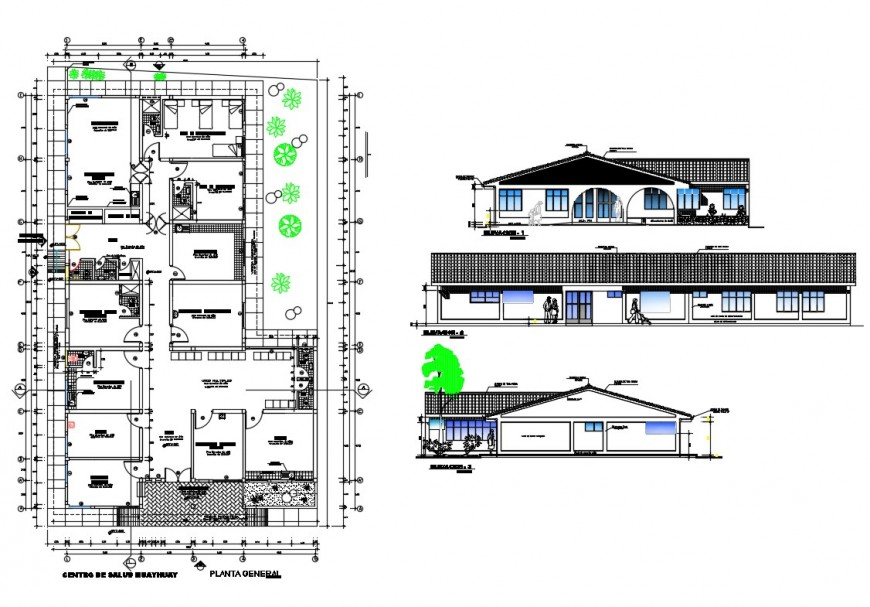 Urban health center all sided elevation and plan details dwg file