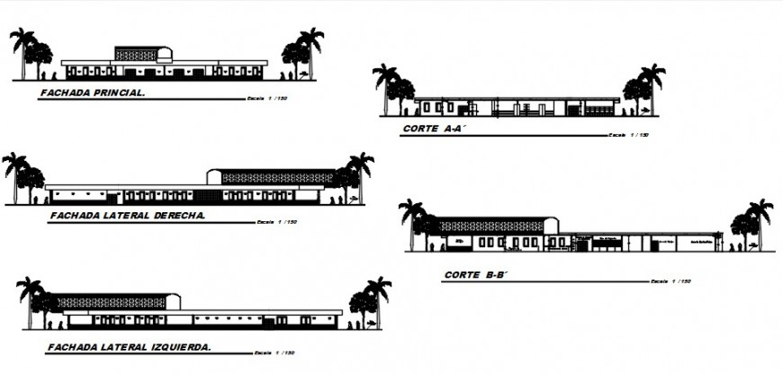 Urban hospital all sided elevation and section drawing details dwg file