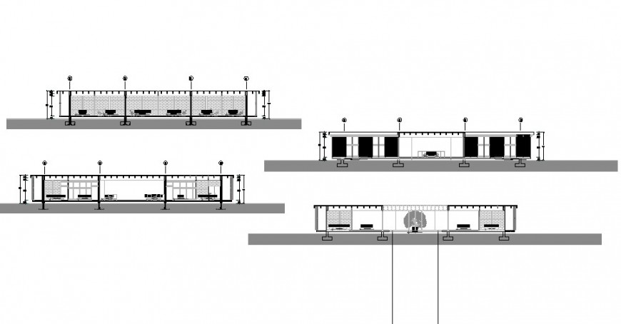 Urban hospital all sided section drawing details dwg file