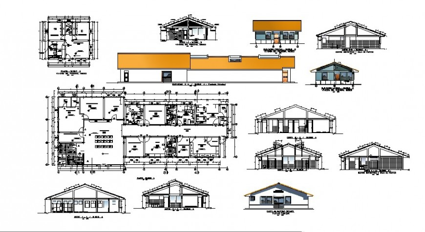 Urban hospital elevation, section, floor plan and auto-cad details dwg file
