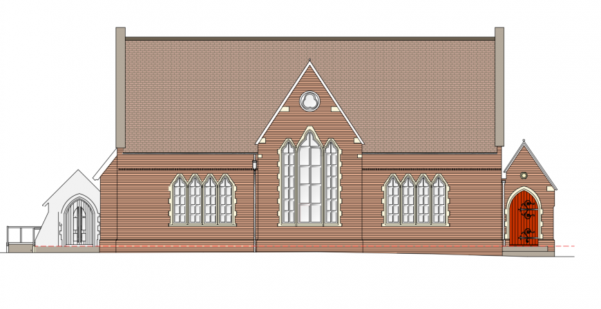 Urban library frontal elevation cad drawing details dwg file