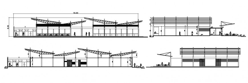 Urban market both sided elevation and section drawing details dwg file