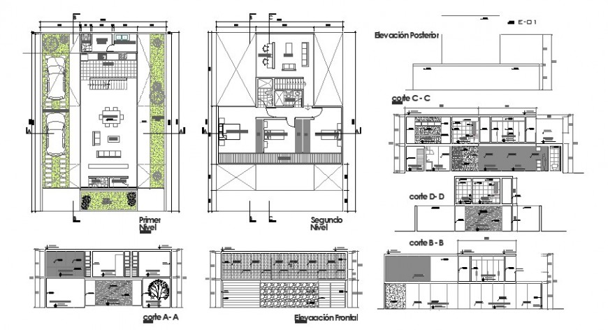Urban outfit house elevation, section, plan and auto-cad details dwg file