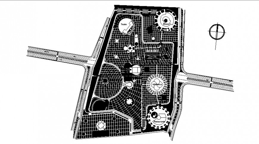 Urban park 12 hectares cycle track of Mexico landscaping structure details dwg file