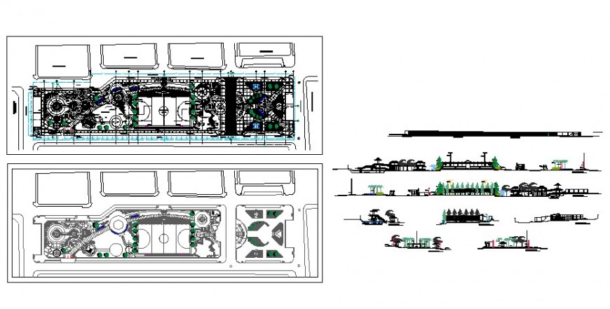 Urban park and play ground floor plan and elevation in auto cad
