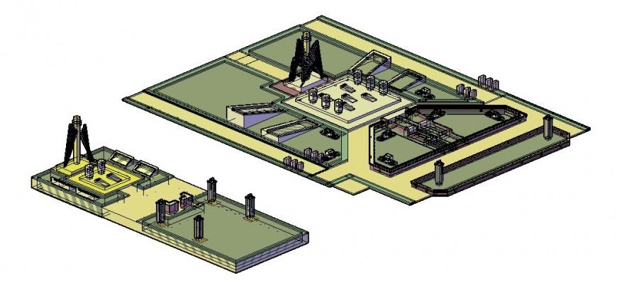 Urban park detail 3d model layout Autocad drawing
